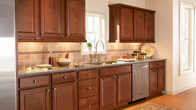 Custom Kitchen American Woodmark Cabinets With Silver Handle And Stove And Countertop For Kitchen Furniture Ideas
