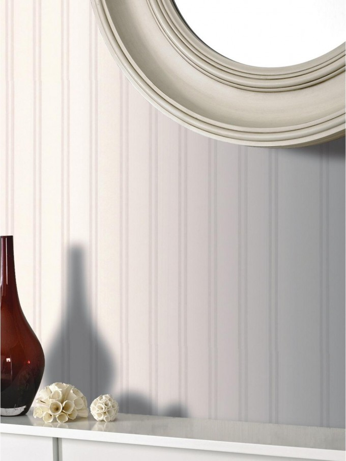 Custom Wall Doctor Beadboard Wallpaper In White And Round Mirror For Home Decor Ideas