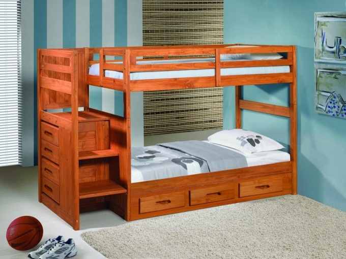 Custom Wood Bunk Beds With Stairs And Storage On White Tile Floor Matched With Blue Wall With Window And Blinds For Teen Bedroom Decor Ideas