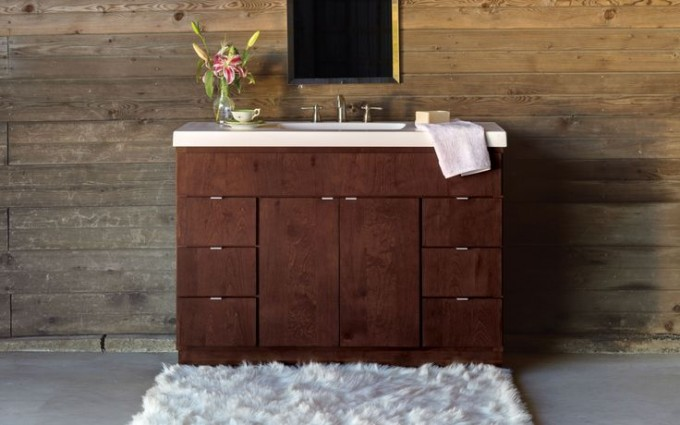 Custom Wooden Bathroom Bertch Cabinets In Brown With White Countertop And Sink Plus Faucet Before The Wooden Wall With Mirror For Bathroom Decor Ideas