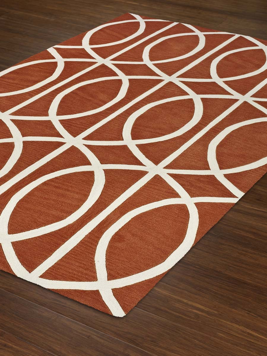 Dalyn Rugs Infinity IF5 Modern Pumpkin Rug in brown base and white motif for floor decor ideas