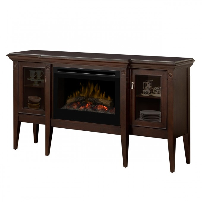 Decorative Dimplex Electric Fireplaces On Brown Wood Buffet With Legs For Home Furniture Ideas