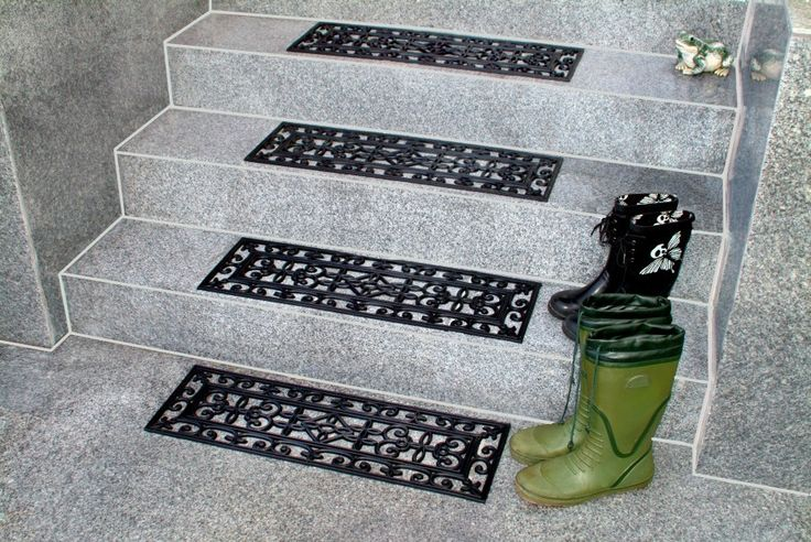 decorative non slip stair treads in floral pattern for stair care step ideas