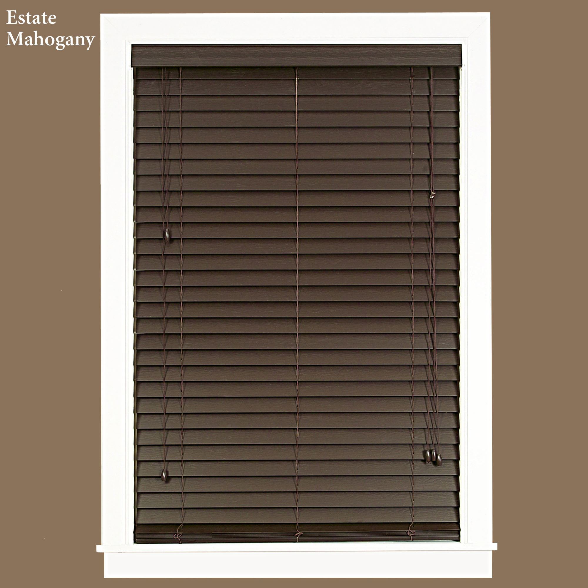 decorative window with white board trim and brown faux wood blinds ideas