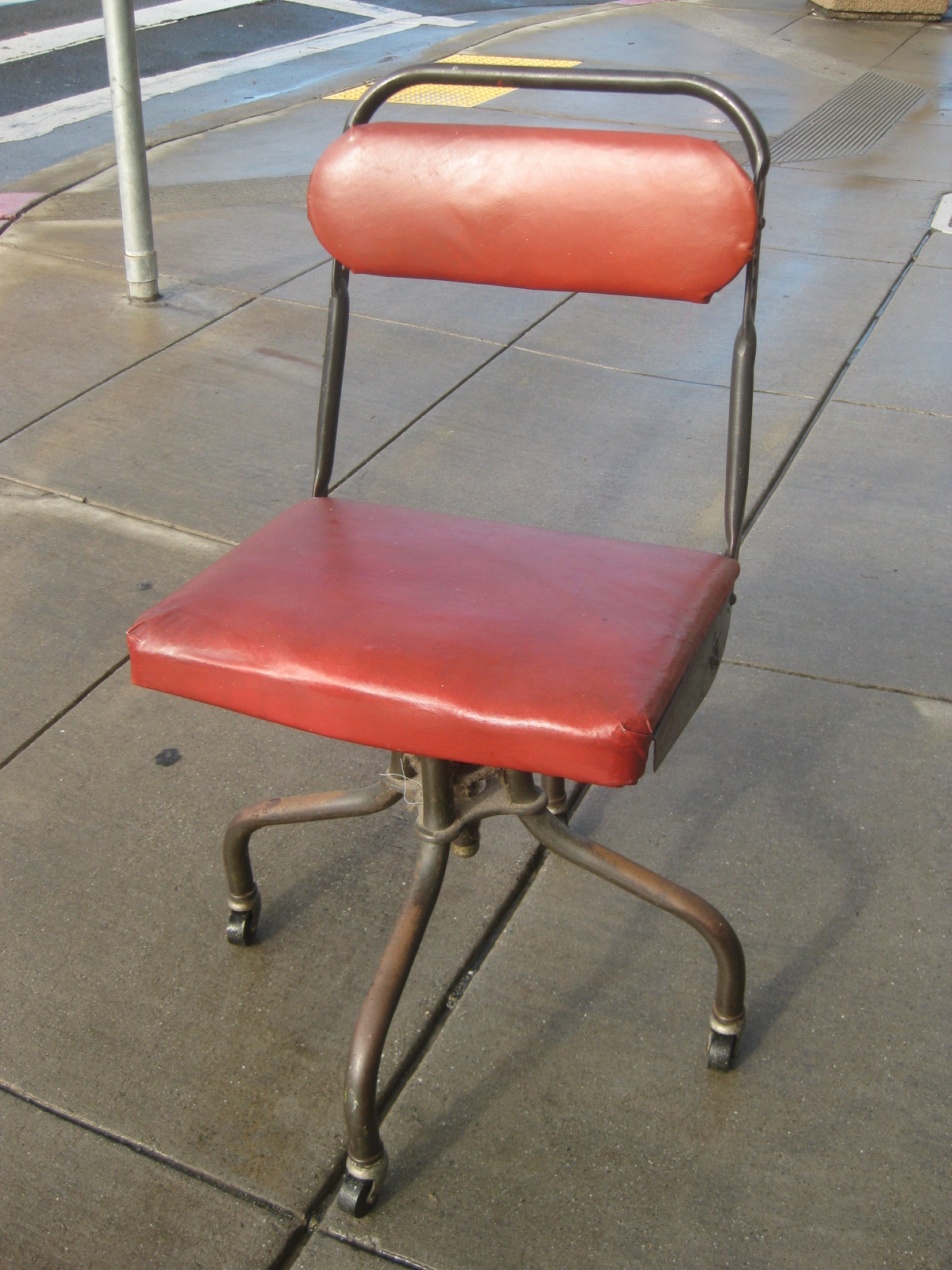 Desk Chairs Retro with red leather seat and iron legs by eurway furniture for home furniture ideas
