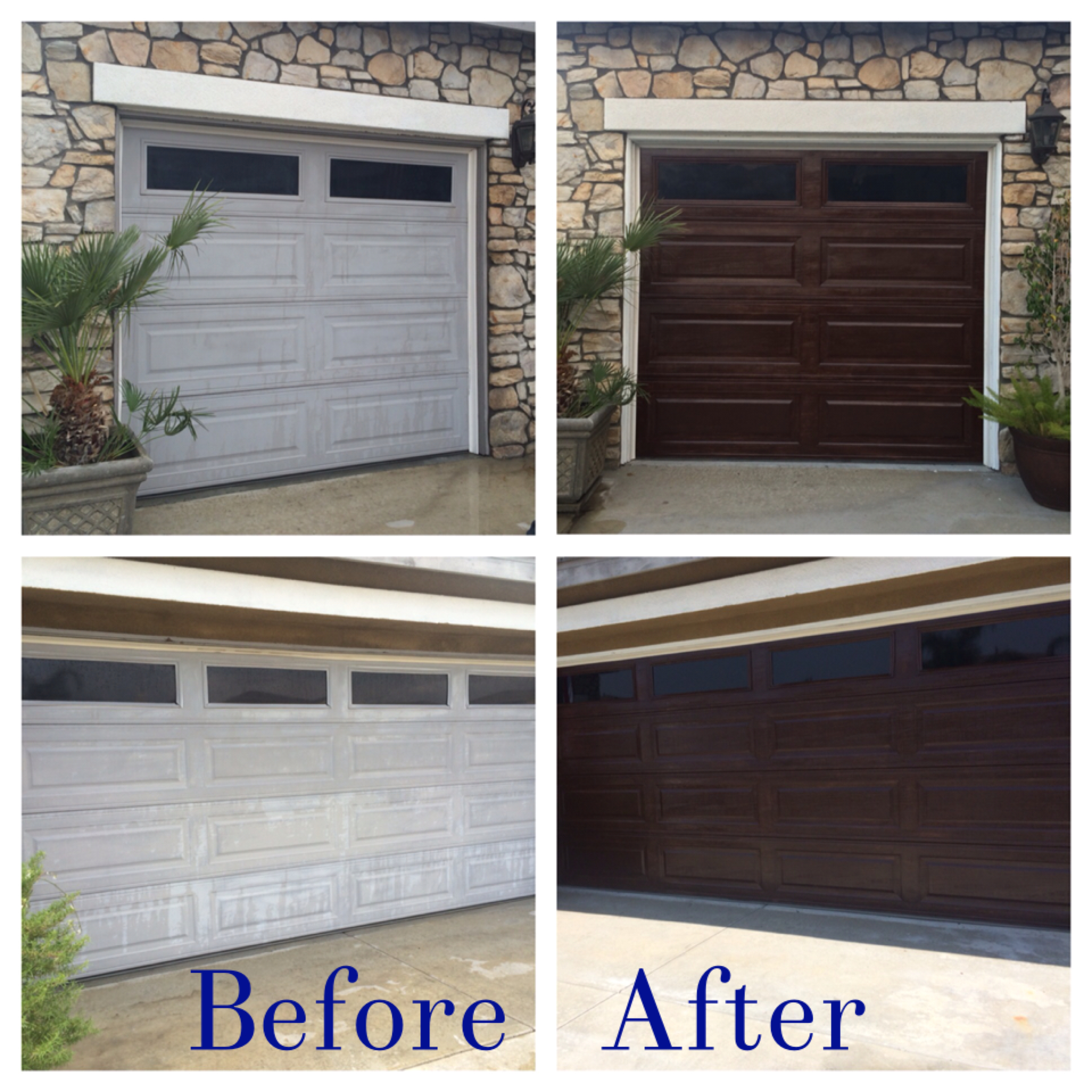 DIY Garage Door makeover using minwax gel stain in Hickory ideas