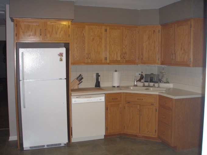 DIY Kitchen American Woodmark Cabinets In Peru With White Countertop And Sink Plus Kitchen Faucet And White Fridge For Kitchen Decor Ideas