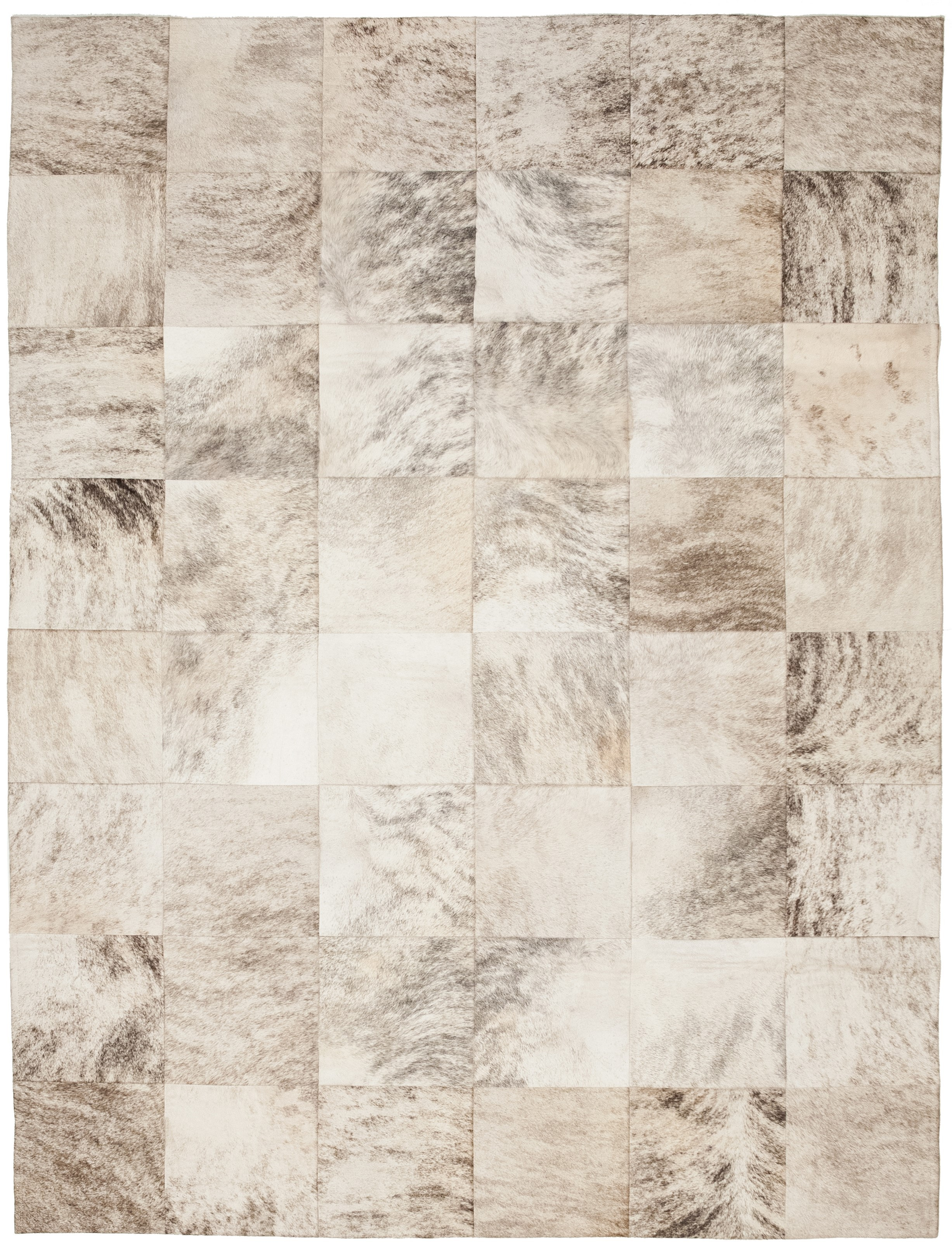 elegant cowhide patchwork rug in creamy white with checked motif for floor decor ideas