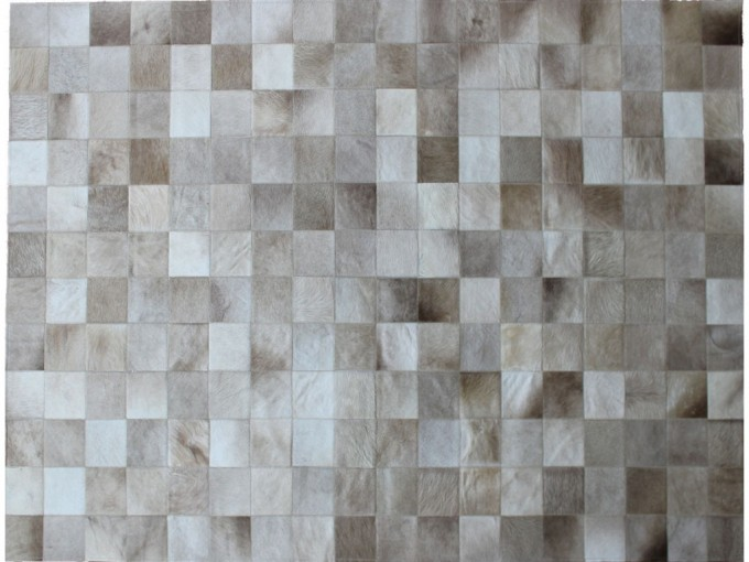 Elegant Cowhide Patchwork Rug Style In Light Gray And Checked Motif For Floor Decor Ideas