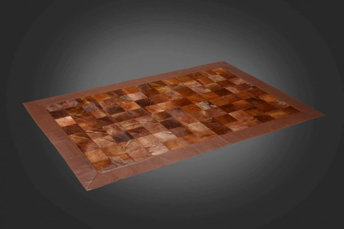 Elegant Rectangle Cowhide Patchwork Rug In Dark Brown With Checked Motif For Floor Decor Ideas