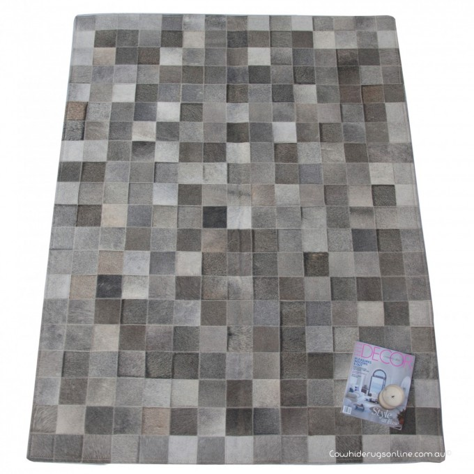 Elegant Rectangle Cowhide Patchwork Rug In Gray And Checked Motif For Floor Decor Ideas