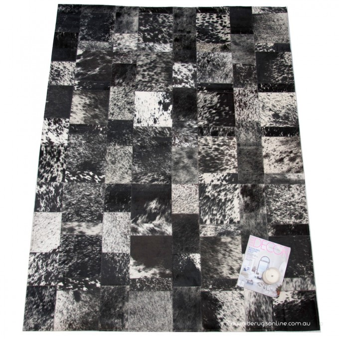 Elegant Rectangle Cowhide Patchwork Rug In Mixed Black Brindle With Checked Motif For Floor Decor Ideas