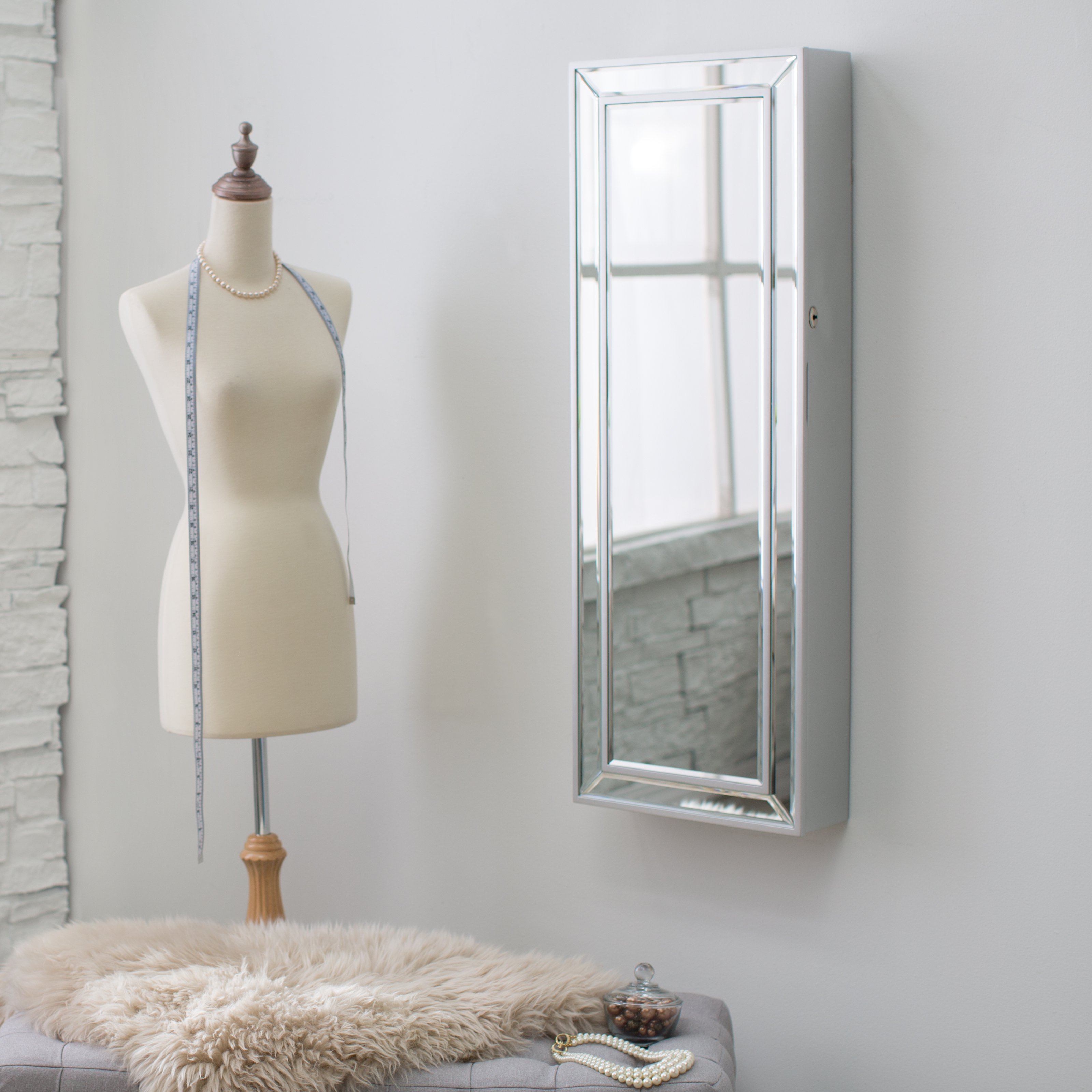 Elegant Standing Mirror Jewelry Armoire In Silver Before The Gainsboro Wall Plus Bench For Living Room Decor Ideas