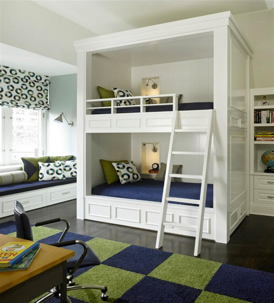 elegant wood Bunk Beds With Stairs in white on wooden floor with checked rug matched with white wall plus bench near the window for teen bedroom decor ideas