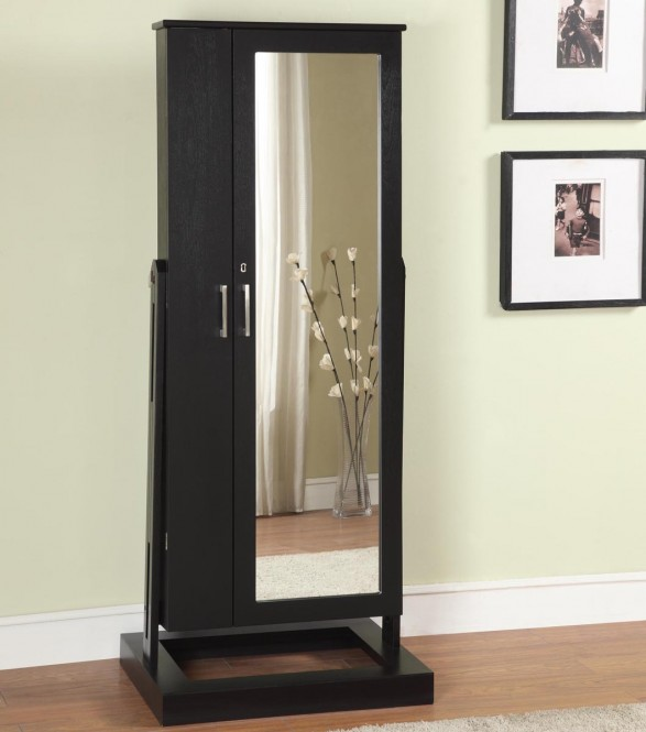 Elegant Wooden Standing Mirror Jewelry Armoire In Black With Silver Handle Before The Dark Sea Green For Living Room Decor Ideas