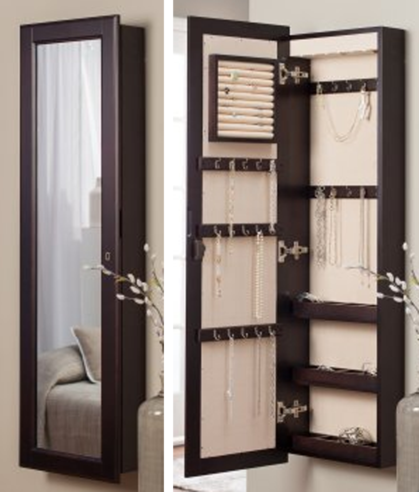 Marvelous Elegant Wooden Standing Mirror Jewelry Armoire In Dark Brown Before The  Silver Wall For Bedroom Decor