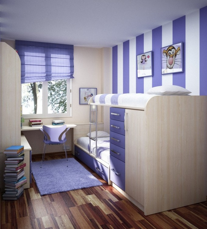Excellent Teenager Bedroom Design In White And Purple Theme With Loft Beds For Teenagers With Drawer And Storage Plus Desk On Wooden Floor Ideas