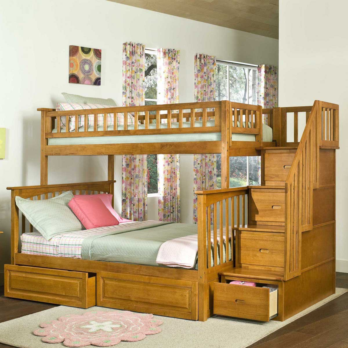 exciting peru wood loft beds for teenagers with stair and drawers on wooden floor with white rug matched with white wall with windows and curtains for teenager room ideas
