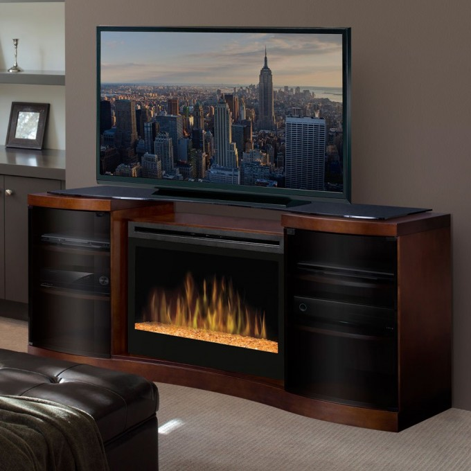 Fancy Dimplex Electric Fireplaces On Decorative Buffet With Television Before The Tan Wall For Family Room Ideas