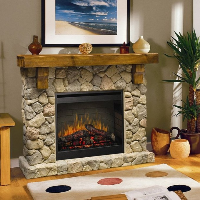 Fancy Dimplex Electric Fireplaces With Natural Stone Mantel Kit Before The Tan Wall With Picture Matched With Wooden Floor With White Dotted Rug For Family Room Decor Ideas