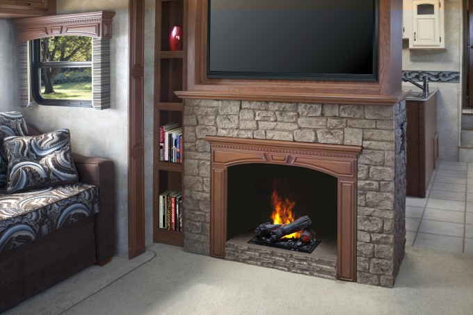 Fancy Dimplex Electric Fireplaces With Stone Mantel Kit Under The Television Plus Book Shelves Beside For Family Room Decor Ideas