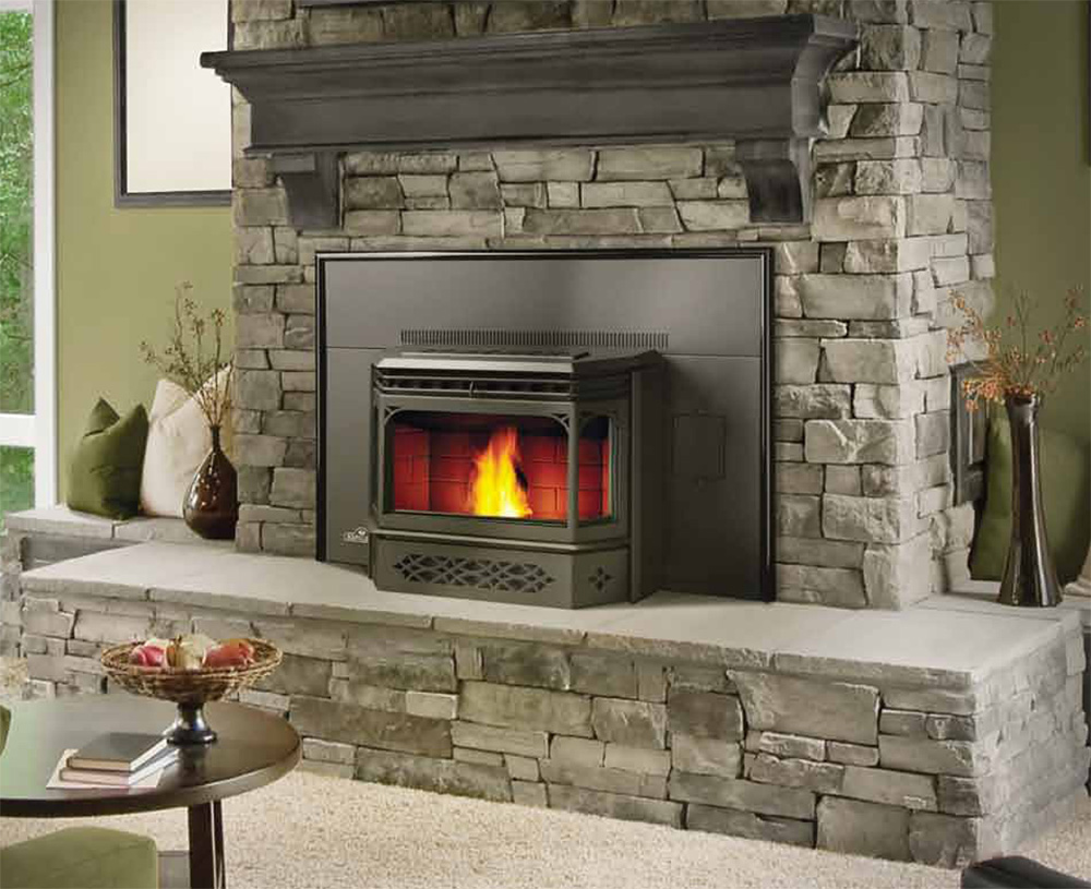 fancy gas napoleon fireplace with natural stone mantel kit matched with olive wall plus coffee table for family room decor ideas