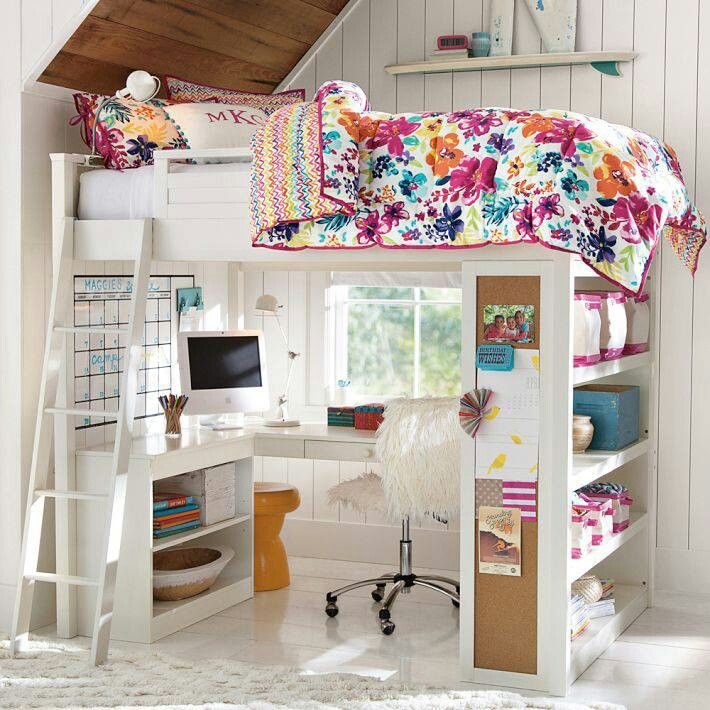 fancy loft beds for teenagers in white with floral bedding and desk plus shelves on white tile floor matched with white wall for great teenage room decor ideas