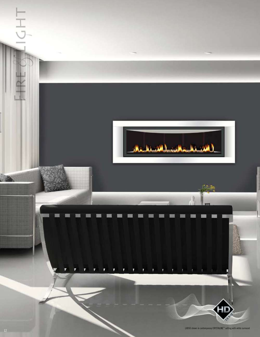 fancy napoleon fireplace on gray wall matched with white tile floor plus gray sofa for family room decor ideas