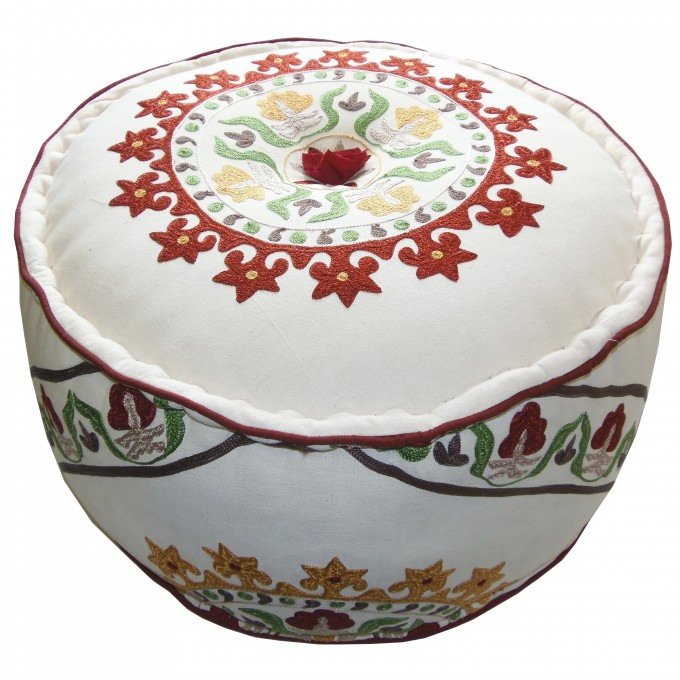 Fancy Round Pouf Ottoman In White With Colorful Floral Motif For Home Furniture Ideas
