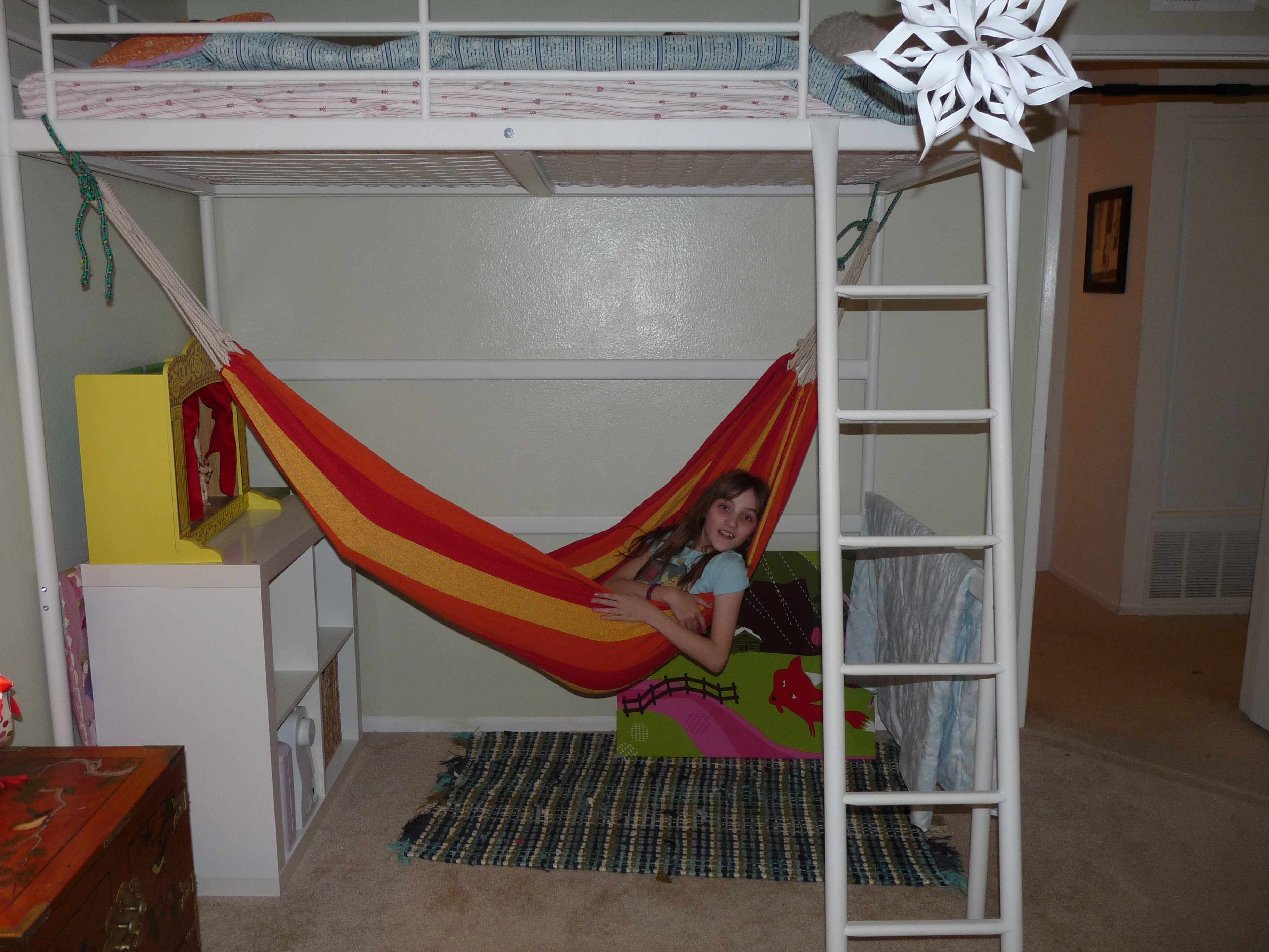 fancy white loft beds for teenagers with swing and white rack on beige tile floor with rug for teen bedroom decor ideas