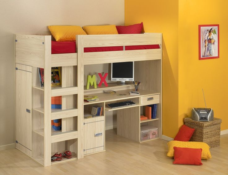 fancy wood loft beds for teenagers with desk and storage on wooden floor for teens bedroom decor ideas