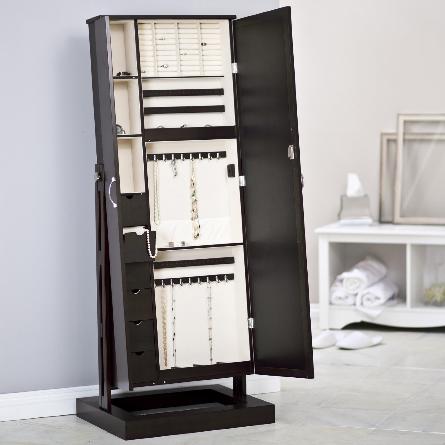 fancy wooden standing mirror jewelry armoire in black with drawers on white tile floor matched with blue wall for home decor ideas