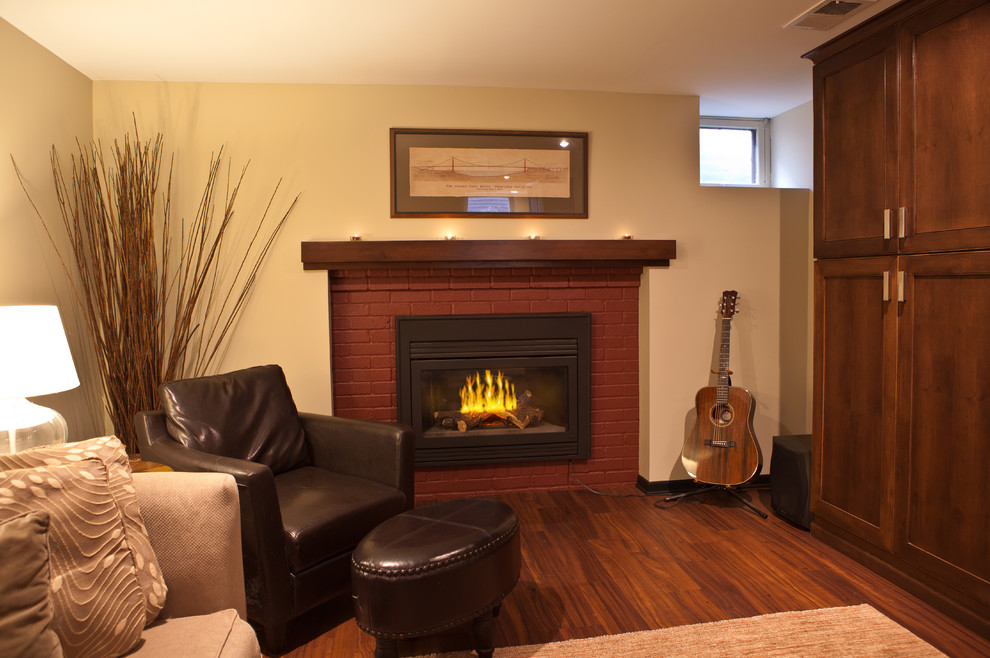 Fireplace On Cream Wall Matched With Wooden Floor By Konecto Plus Espresso Leather Sofa And Ottoman For Family Room Decor Ideas