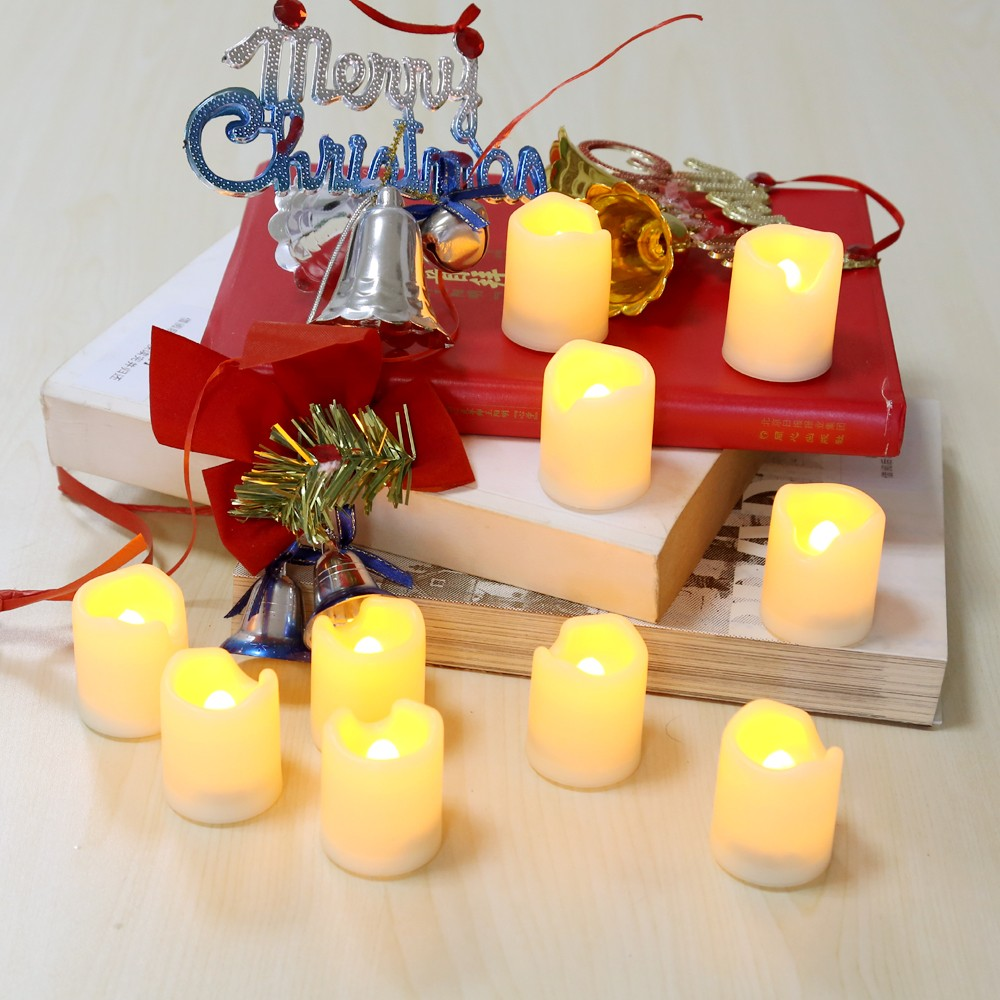 flameless candles with timer for christmas decoration ideas
