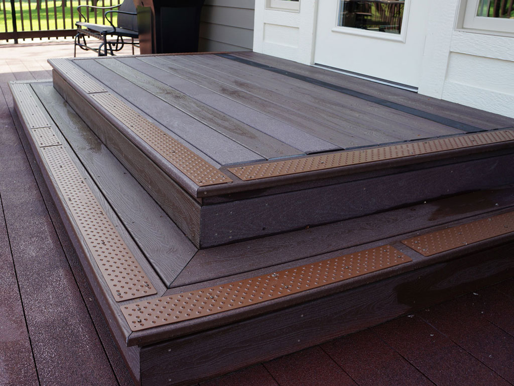 Front Gate Wooden Stair Using Brown Non Slip Stair Treads Matched With Gray  Siding And Wooden