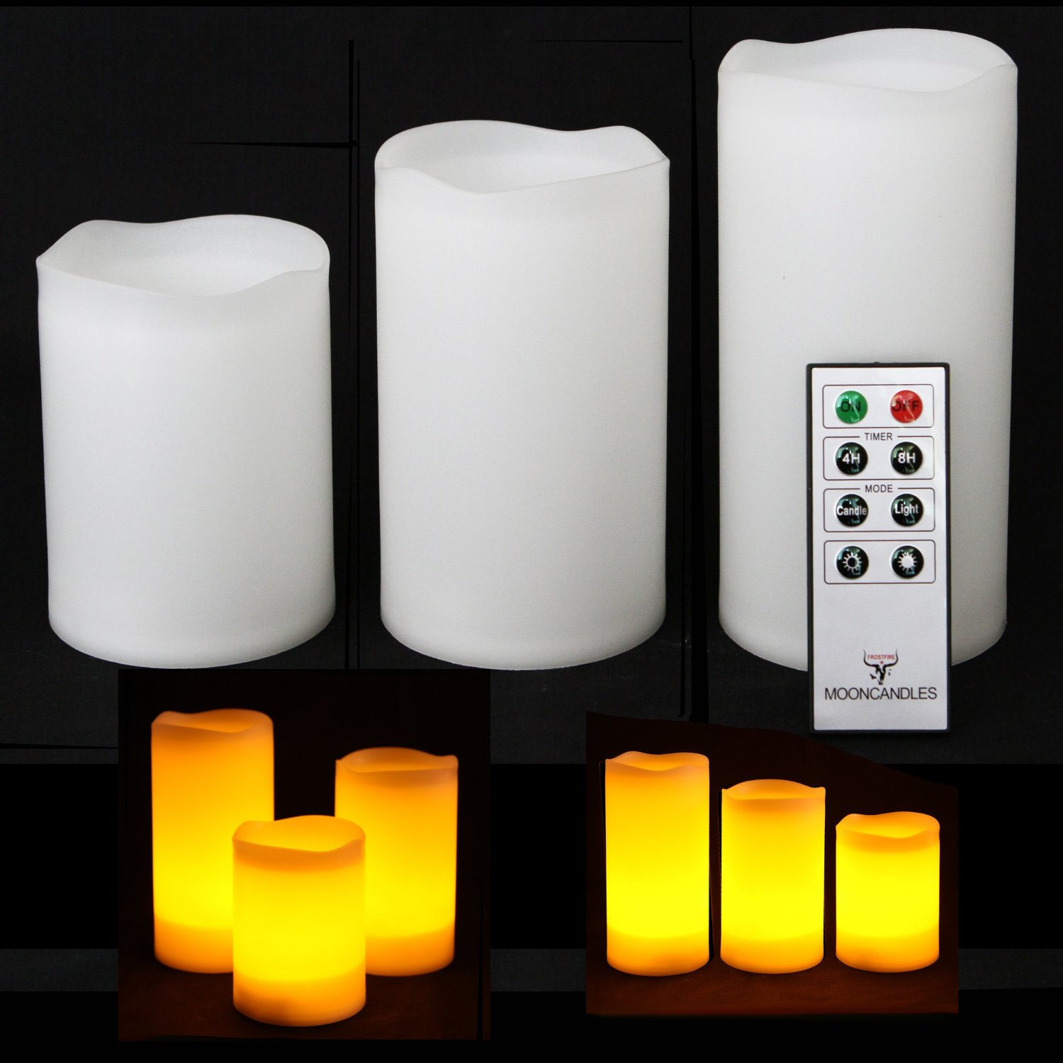 Frostfire Mooncandles 3 Weatherproof Outdoor and Indoor flameless candles with timer for home decoration ideas