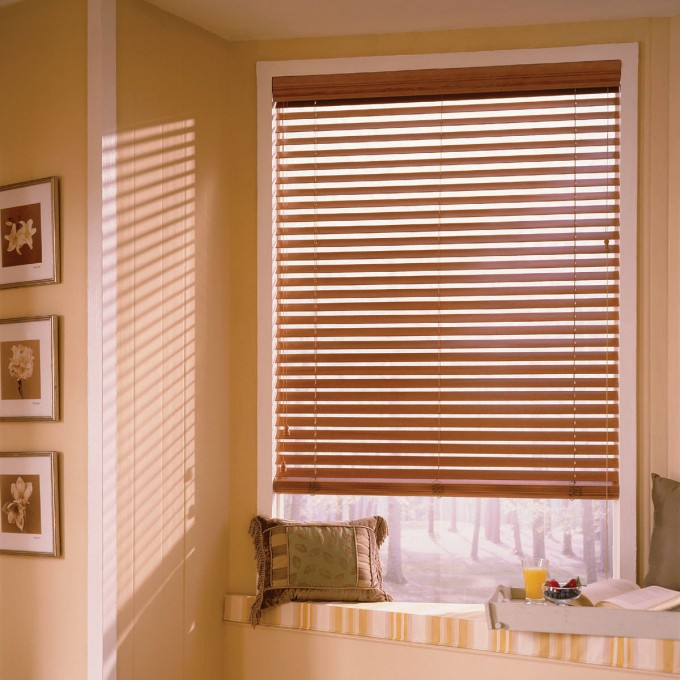 Glass Window With Board Trim And Brown Faux Wood Blinds On Yellow Wall Plus Bench For Inspiring Living Room Decor Ideas