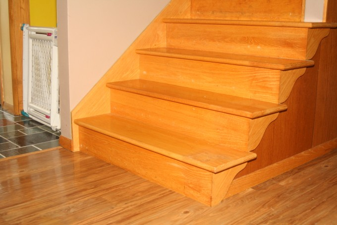 Golden Wheat Wooden Floor By Konecto Matched With Wooden Stair And White Wall For Home Interior Design Ideas