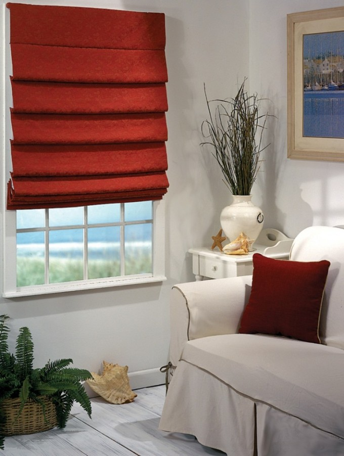 Gorgeous Room Design With White Wall And Window With Red Levolor Cellular Shades Ideas