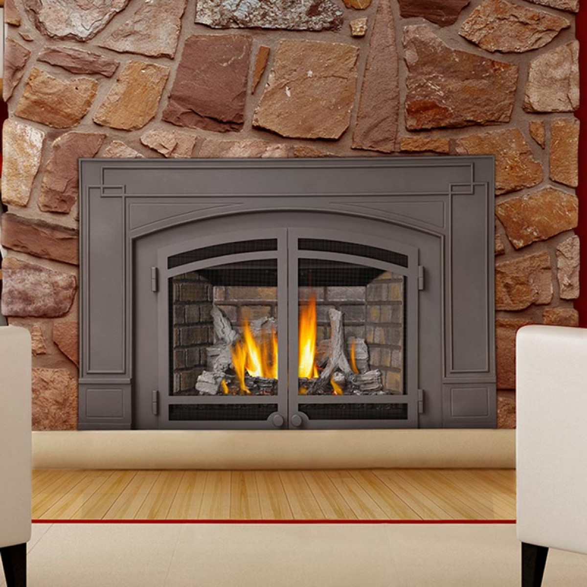 gray framed napoleon fireplace with natural stone mantel kit matched with wooden floor plus white sofa for family room decor ideas