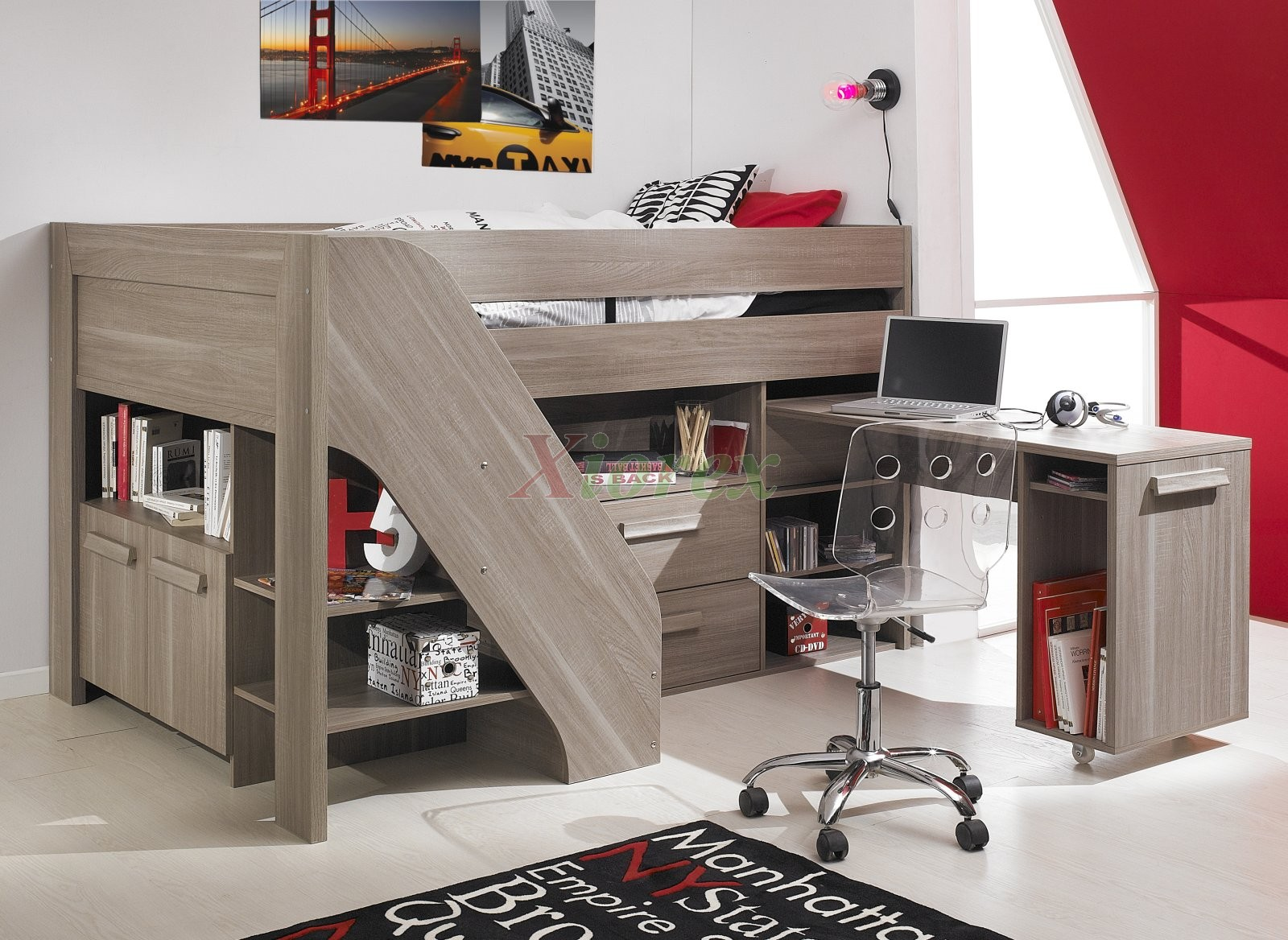 great boy bedroom decoration with tan wood loft beds for teenagers and desk plus cool rug ideas