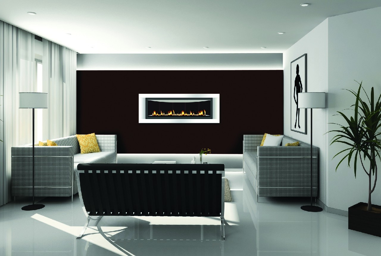 great electric napoleon fireplace on black wall matched with white tile floor plus sofa set and floor standing lamp for living room decor ideas