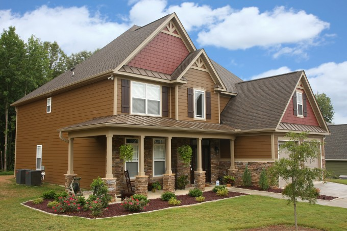 Great Hardie Plank Siding In Brown With White Trim Board And Glass Window For Home Exterior Design Ideas