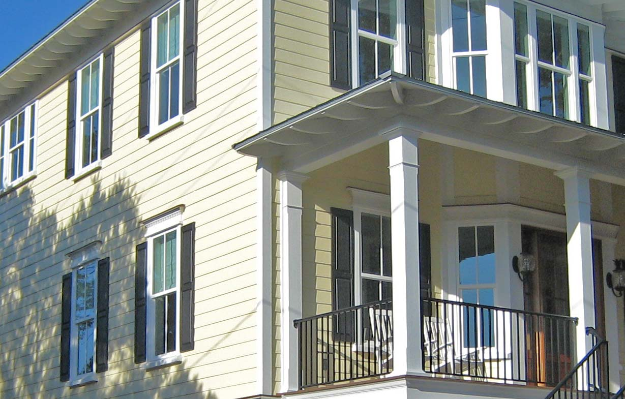 great horizontal hardie plank siding in white with trim board and glass window for home exterior design ideas