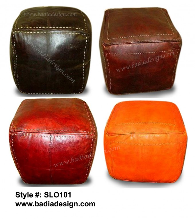 Great Square Leather Pouf Ottoman In Option Colors For Home Furniture Ideas