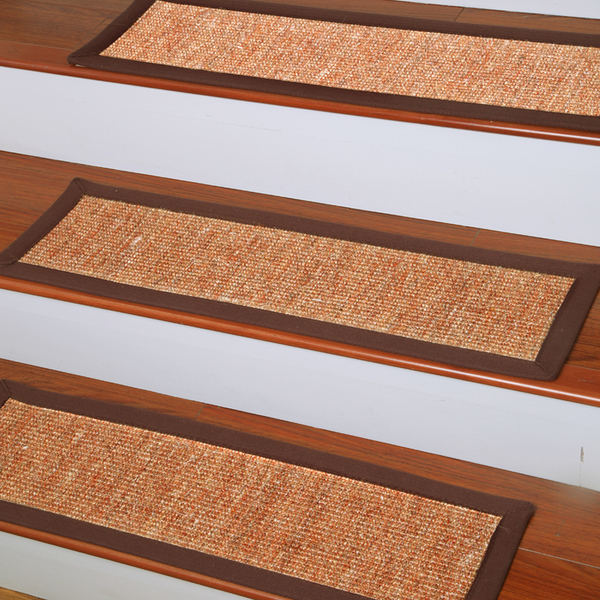 Handcrafted Fiber Non Slip Stair Treads In Orange And Brown For Stair Care Step Ideas