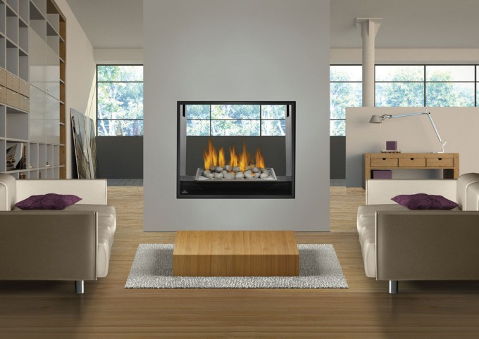 HD81NT Natural Gas Napoleon Fireplace On White Wall Matched With Wooden Floor Plus Sofa And White Rug For Family Room Decor Ideas
