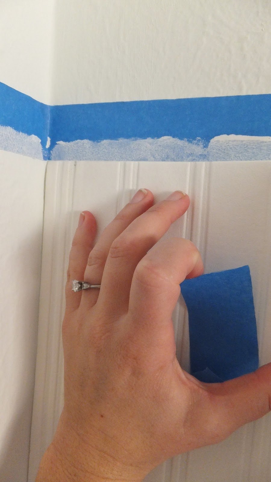 how to match the white Wall Doctor Beadboard Wallpaper to the blue wall