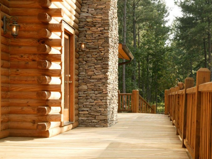 Inspiring Deck Of Southland Log Homes With Glass Door And Railing Ideas