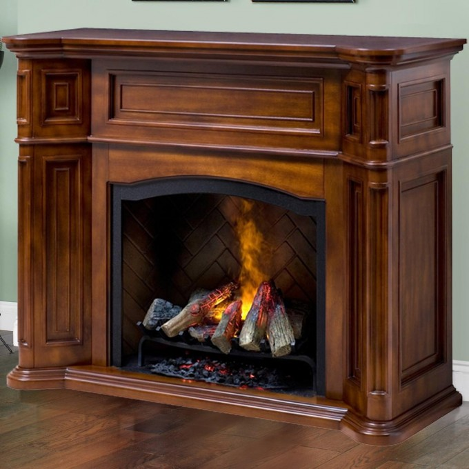 Inspiring Dimplex Electric Fireplaces With Wooden Mantel Kit Before The Olive Wall Matched With Wooden Floor And Baseboard Molding For Family Room Design Ideas